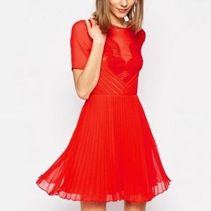 ASOS Lace and Pleat Skater Mini Dress
